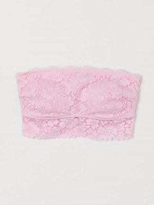 H&M Vadderad bandeau-bh i spets rosa