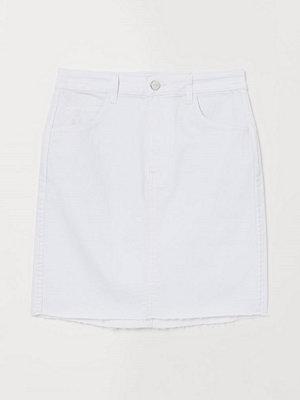 H&M Kort jeanskjol vit