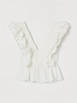 H&M Volangblus i bomull vit