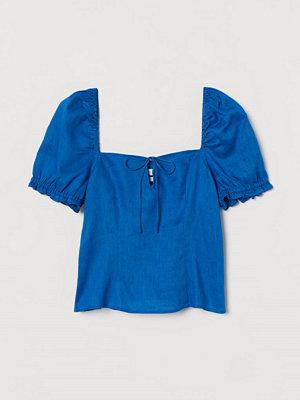 H&M Blus i linne blå