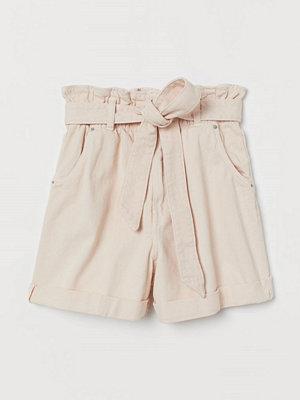 H&M Paper bag-shorts i denim rosa