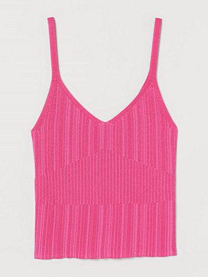H&M Strukturstickat linne rosa