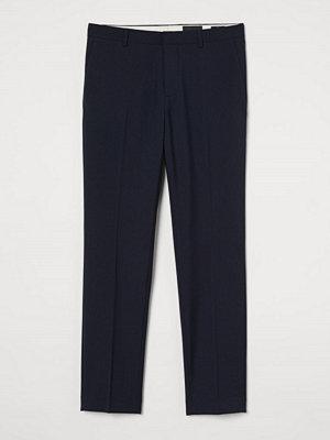 H&M Kostymbyxa i ullmix Slim Fit blå