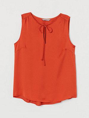 H&M Satinblus med knytband orange