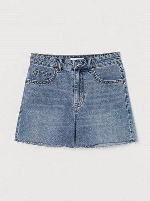 H&M Jeansshorts High Waist blå