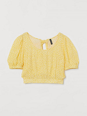 H&M Blus med puffärm gul