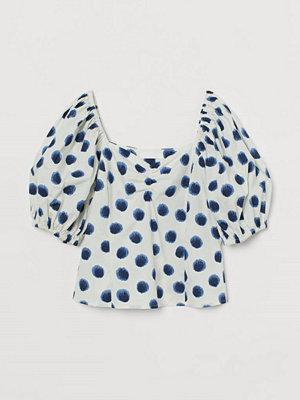 H&M Blus med puffärm vit