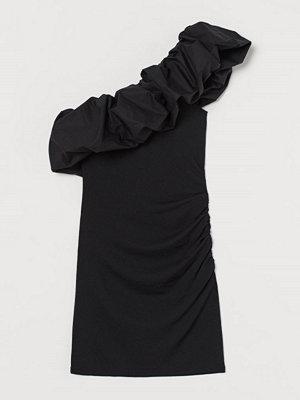 H&M One shoulder-klänning svart