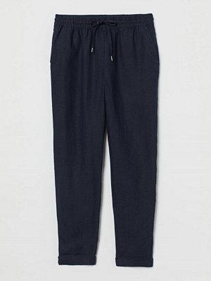 H&M svarta byxor Pull on-byxa i linne blå