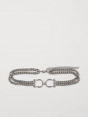 H&M Skärp av metallkedja silver