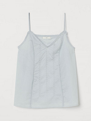H&M Broderat linne i bomull turkos