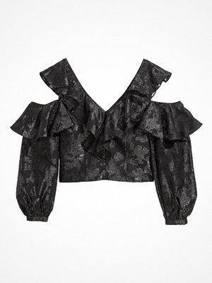 H&M V-ringad volangtopp svart