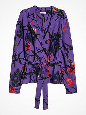 H&M Blus med knytband lila