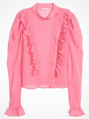 H&M Volangblus med puffärm rosa