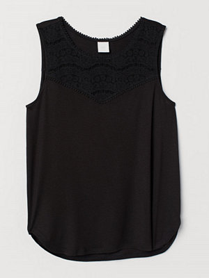 H&M Ärmlös trikåtopp svart
