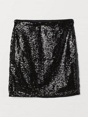 H&M Glittrig kjol svart