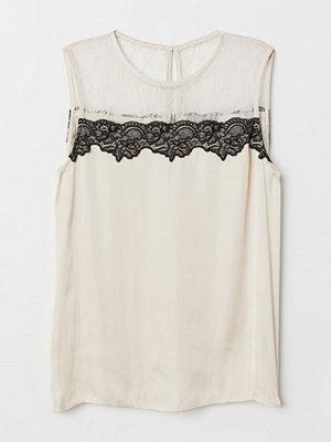 H&M Blus med spetsok beige