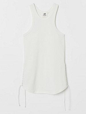 H&M Ribbat linne med snörning vit