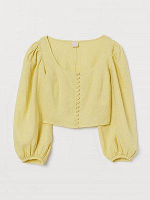H&M Linneblus med ballongärm gul