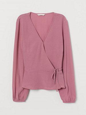 H&M Jacquardvävd omlottblus rosa