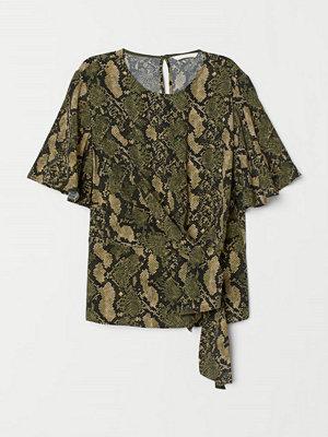 H&M Blus med knytdetalj grön