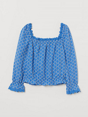 H&M Blus med broderie anglaise blå