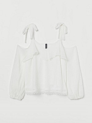 H&M Cold shoulder-blus vit