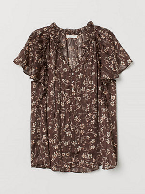 H&M Blus med fjärilsärm brun
