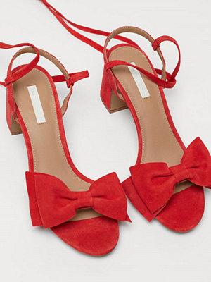 H&M Sandaletter i mocka röd