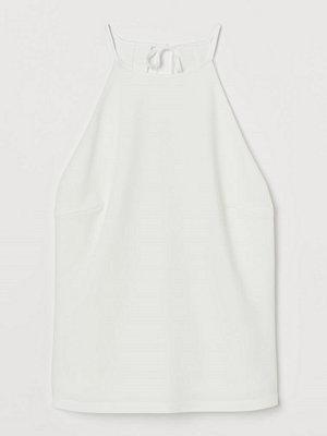 H&M Crêppad trikåtopp vit
