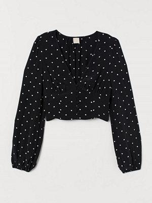 H&M Blus med ballongärm svart