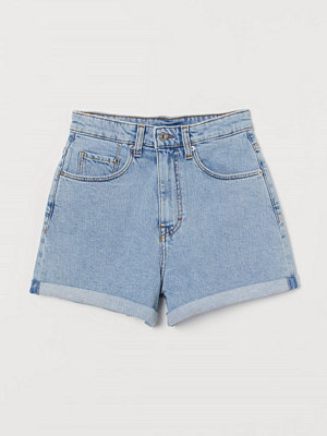 H&M Mom Shorts High Waist blå
