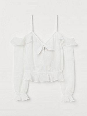 H&M Cold shoulder-blus vit
