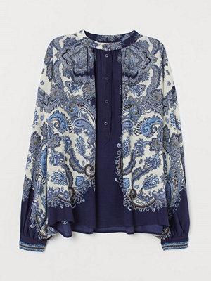 H&M Viskosblus med murarkrage blå