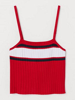H&M Ribbstickat linne röd