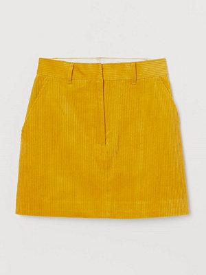 H&M Kjol i bomullsmanchester gul