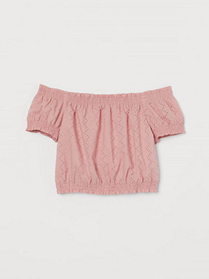 H&M Off shoulder-blus i bomull rosa