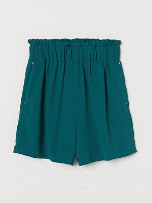 H&M Paper bag-shorts grön