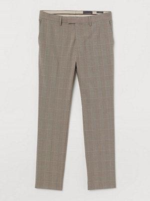 H&M Rutig kostymbyxa Skinny Fit beige