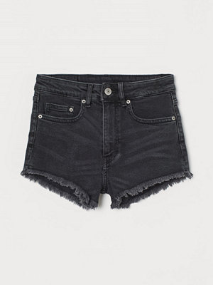 H&M Jeansshorts High Waist svart