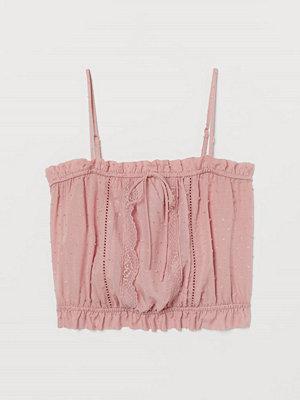 H&M Kort topp med spets rosa
