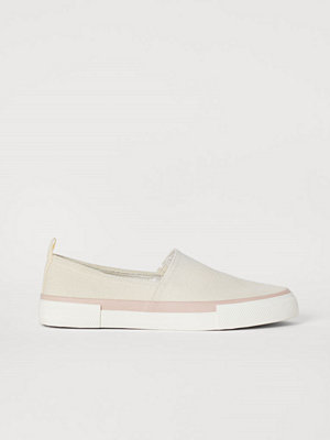 H&M Slip on-sneakers i canvas beige