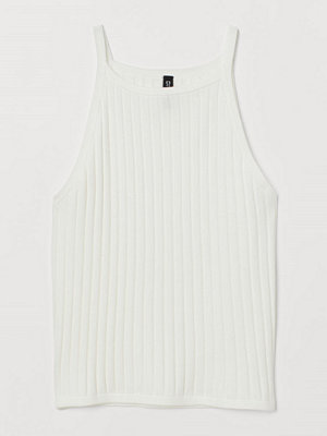 H&M Ribbstickat linne vit
