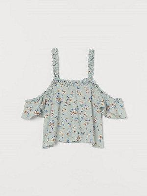H&M Kort cold shoulder-topp turkos