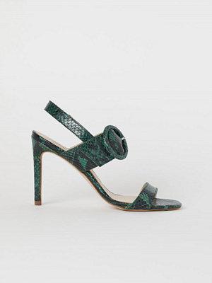 H&M Sandaletter i läder grön