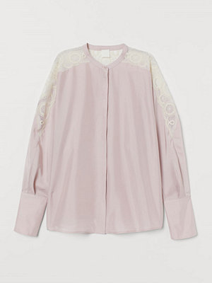 H&M Sidenblus med spets rosa