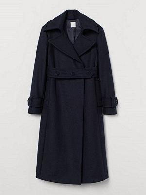 H&M Lång kappa i ullmix blå