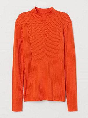 H&M Ribbstickad tröja med halvpolo orange