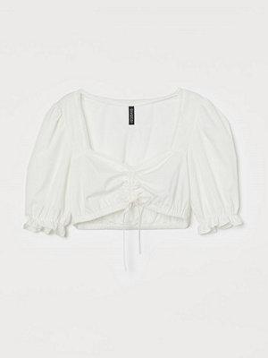 H&M Kort blus i bomull vit