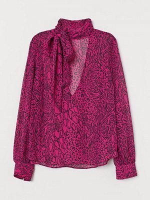 H&M Knytblus i chiffong rosa